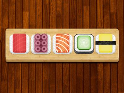 Sushi Icons sushi icons iphone tiles blocks wood bamboo rolls sushi rolls