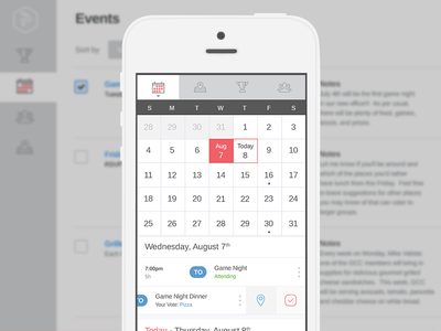 Calendar Screen mobile calendar flat events app light minimal design ux ui dropdown