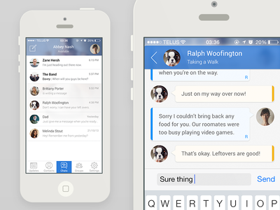 BBM Meets iOS7 clean chat messages light iphone flat mockup ui ios7 blacberry bbm