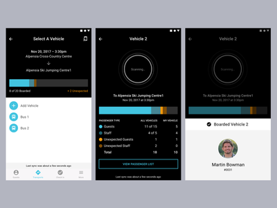 Group Travel App Concept – Bus Checkin rfid scan checkin app travel