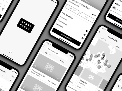 Campsite Reservation App Wireframes outdoors travel concept app mobile campsite wireframe reservation camping