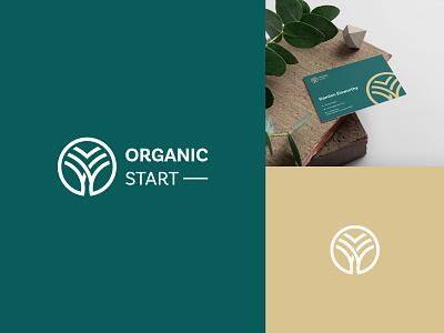 Organic Start Logo environment green logo o o logo line logo illustration logo design harvest agriculture farm farming organic plant brand branding logo