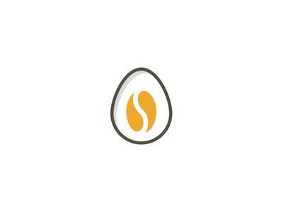 Egg + Coffe bean logo concept
