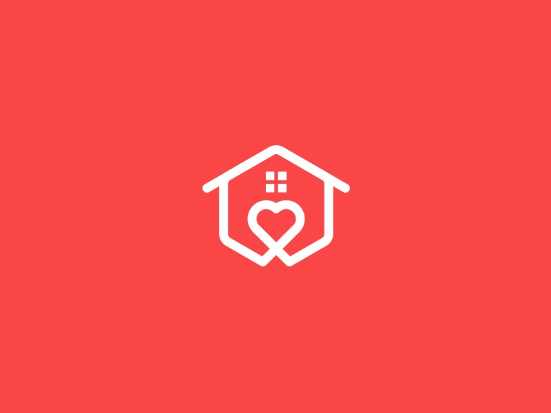 Heart + Home Logo minimalist logo clean logo modern logo simple logo house logo logo logo design care logo heart logo home logo