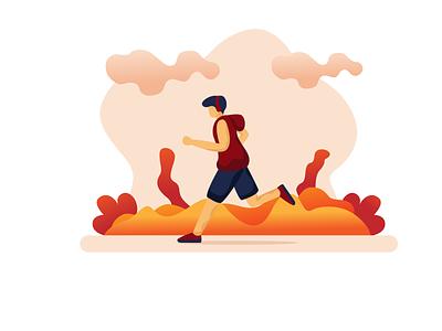 afternoon run flaticon character landingpage ilustration flatdesign design falt
