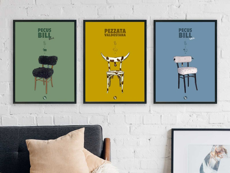Poster Musi colors promotional design chairs poster
