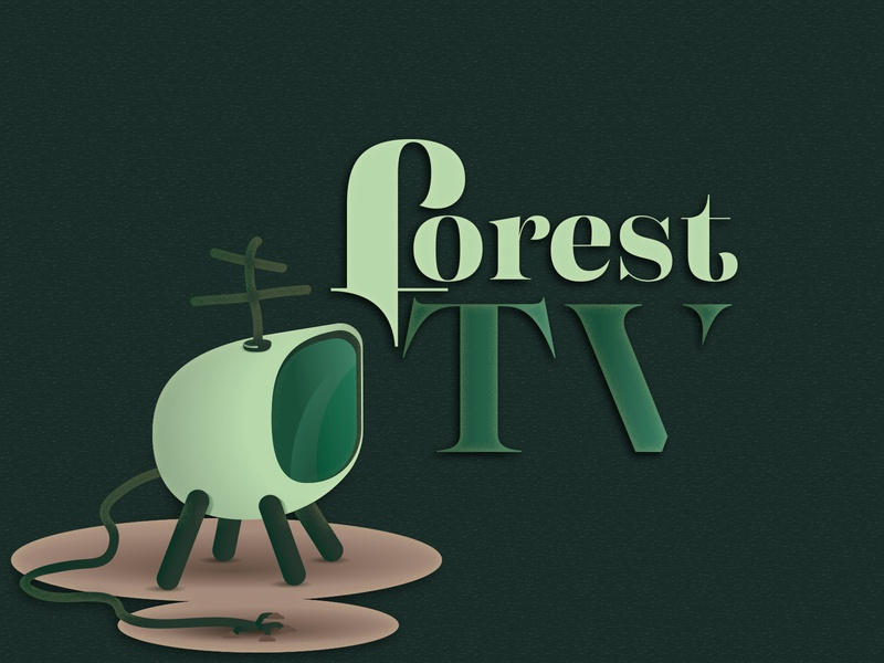 Forest TV typography illustration for fun