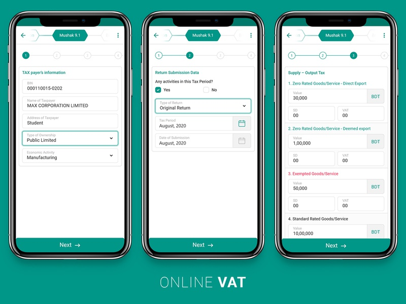 Online Vat Form payment commerce business income money green form tax vat uiux app ui