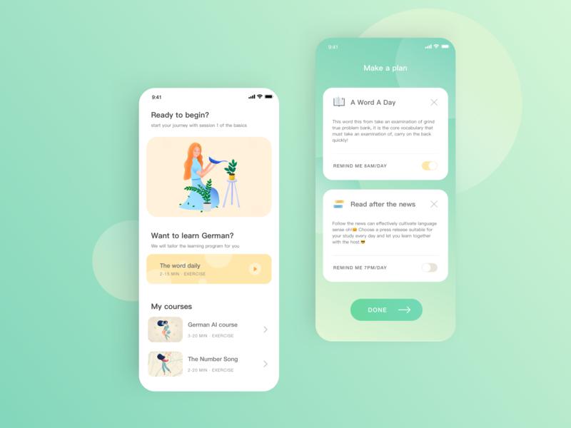 Language learning app illustration design app ux ui