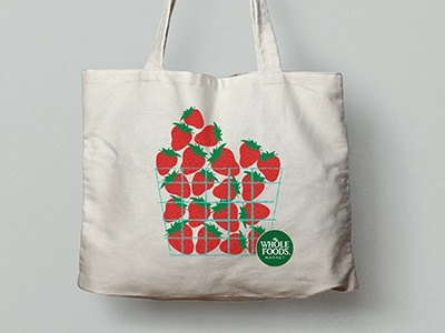 Strawberry Basket Canvas Bag