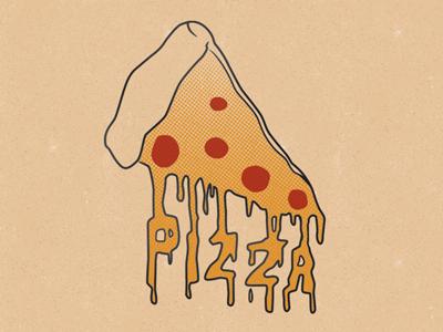 P-I-Z-Z-A pizza illustration halftone