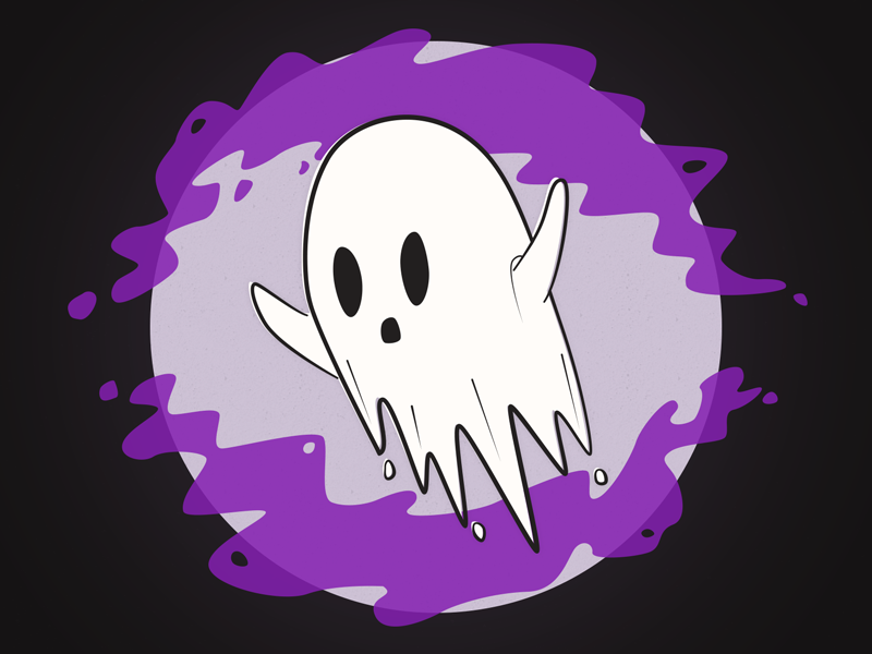 Ghost illustration moon halloween ghost