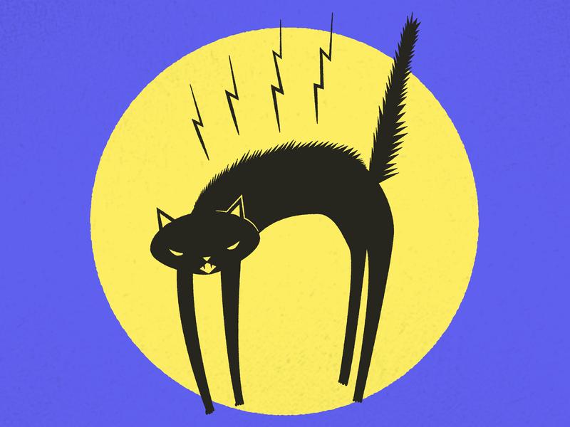 Day 3: Black Cat moon black cat cat 31daysofhalloween halloween illustration