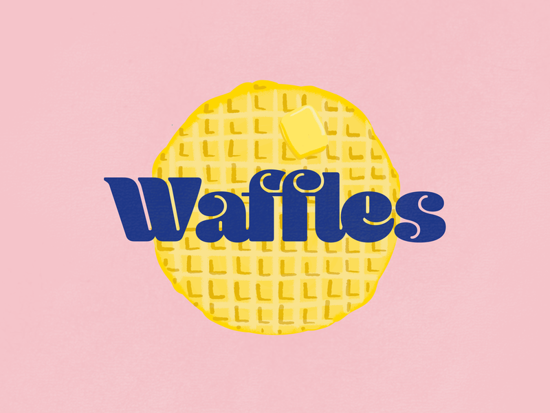 Waffles breakfast logo yellow font design pink branding illustration typography breakfast