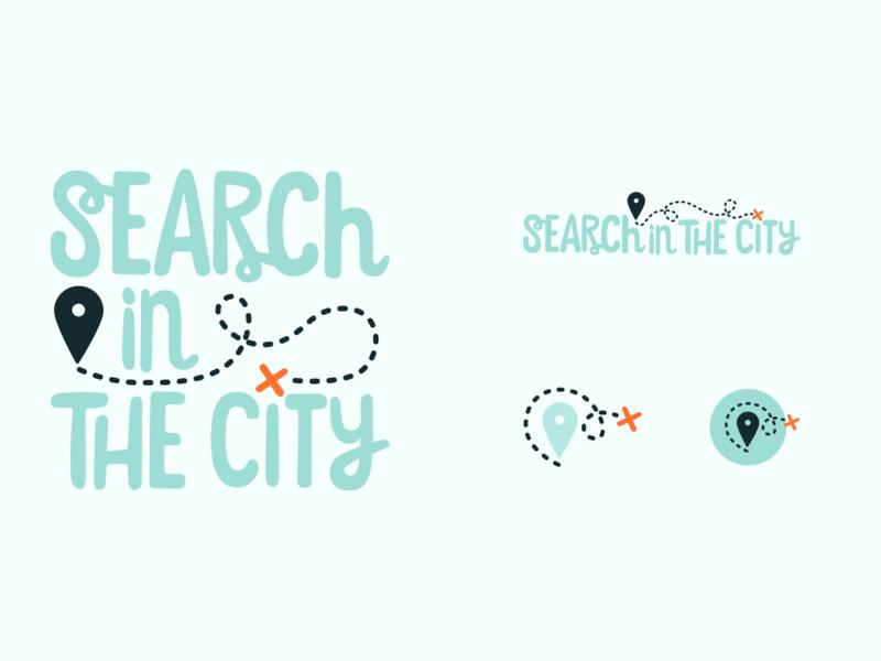 Search In The City Branding location mint mint green treasure map scavenger hunt branding logo