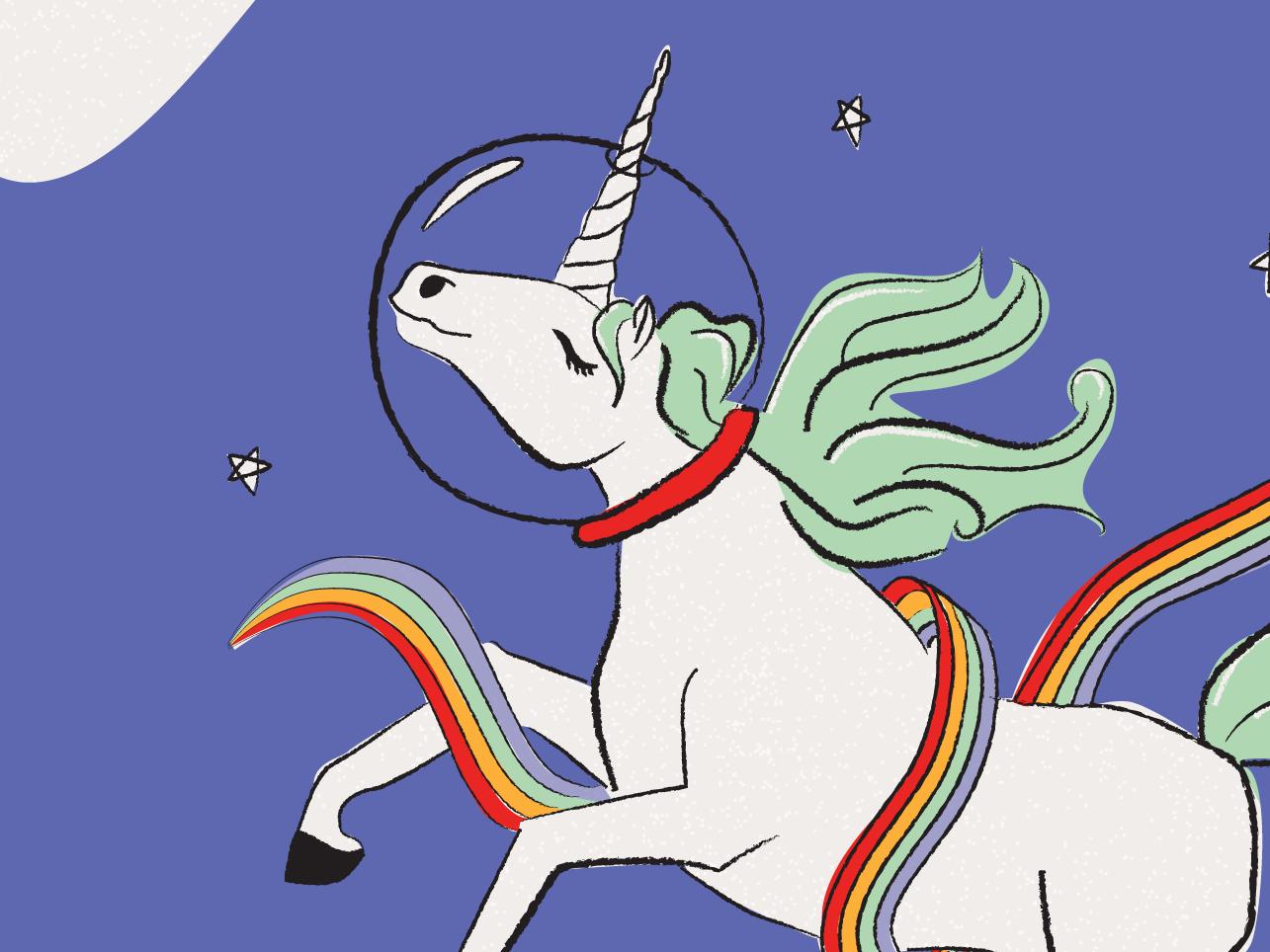 Rainbow Infused Space Unicorn valentine card galentines day galentine rainbow unicorn illustration