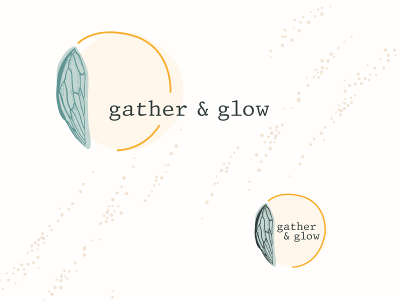 Gather & Glow Branding etsy store logo circle logo insect wing insect cicada vintage branding