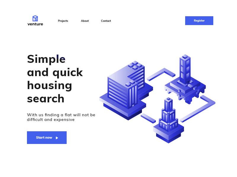 Venture flats searching vector ux web web deisgn ui design illustration