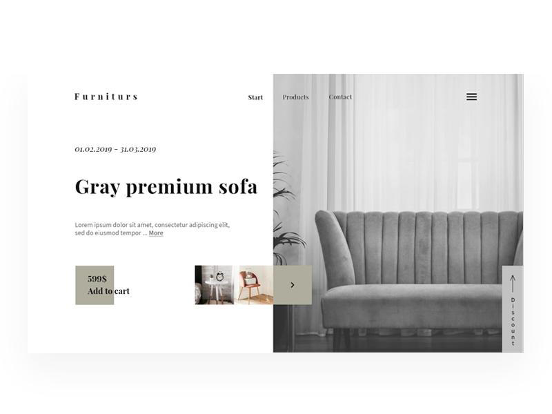 Premium furniture gray ui  ux design ui web