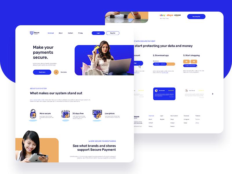 Secure Payments website typography blue ui illustration ui  ux design web deisgn design web