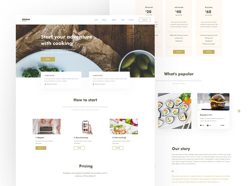 KitchenMobile / Web layout kitchen website typography web deisgn ui  ux design ui design web