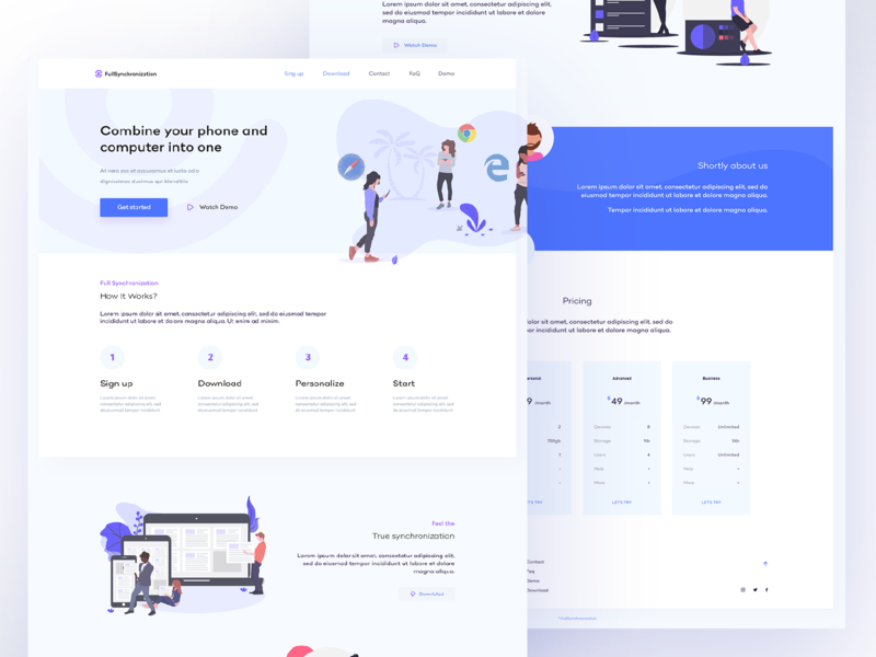 Synchronization app // web design website vector uipractice training filiphies undraw illustration web deisgn blue web ui ui  ux design