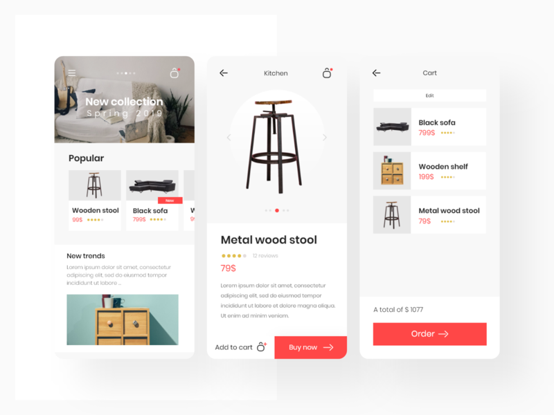Mobile store application interface mobile shop interface ui ux app adobexd