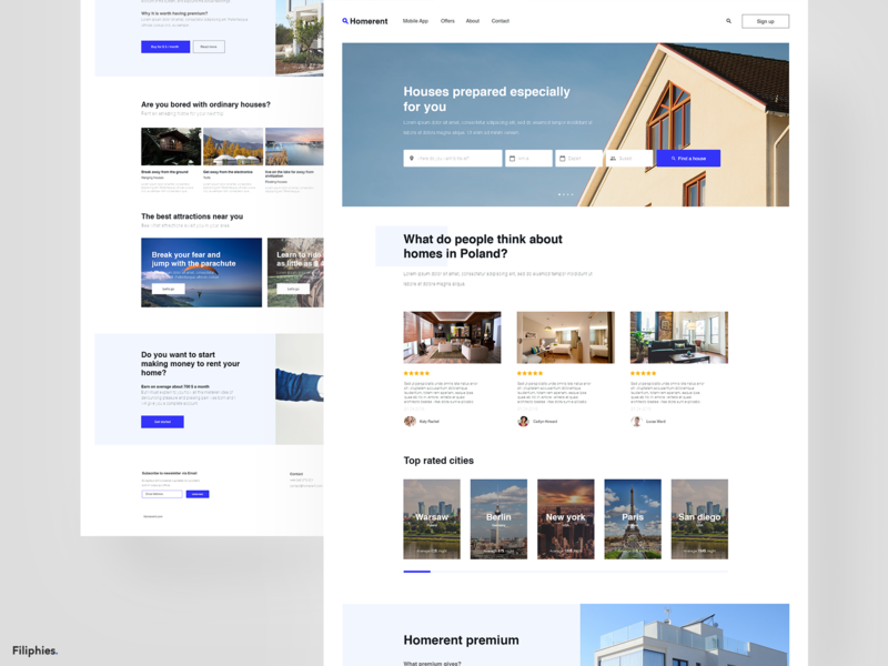 Rent a home - Website branding uipractice website web deisgn ux training design blue web ui  ux design ui