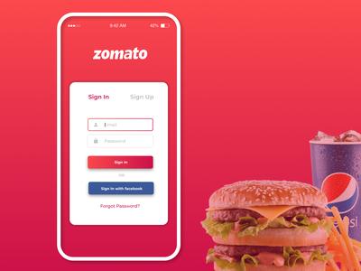 Zomato App Login Screen