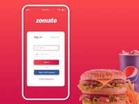 Zomato App Login Screen