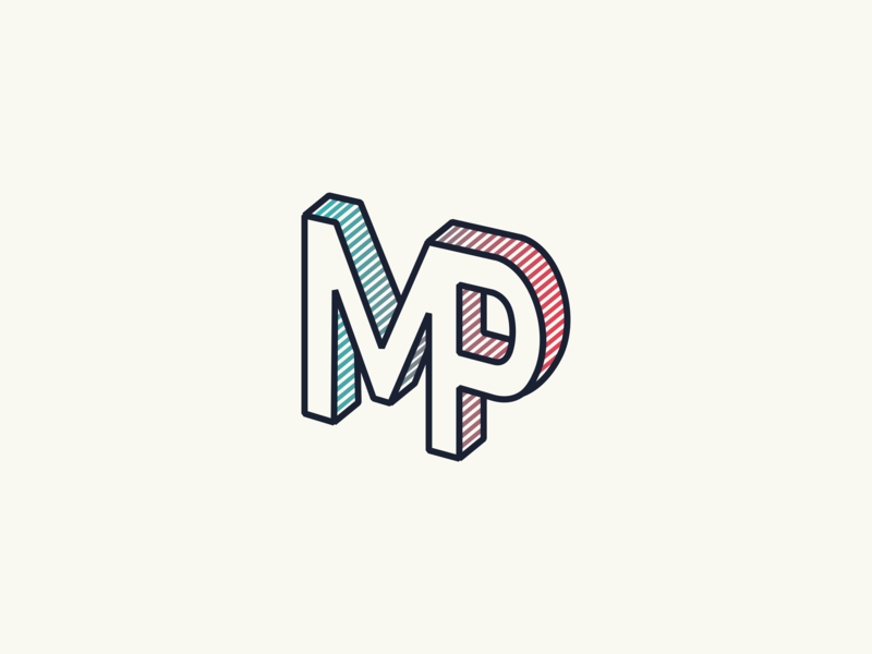 New Brand Indentity mp initials gradient isometric icon branding typography logo design