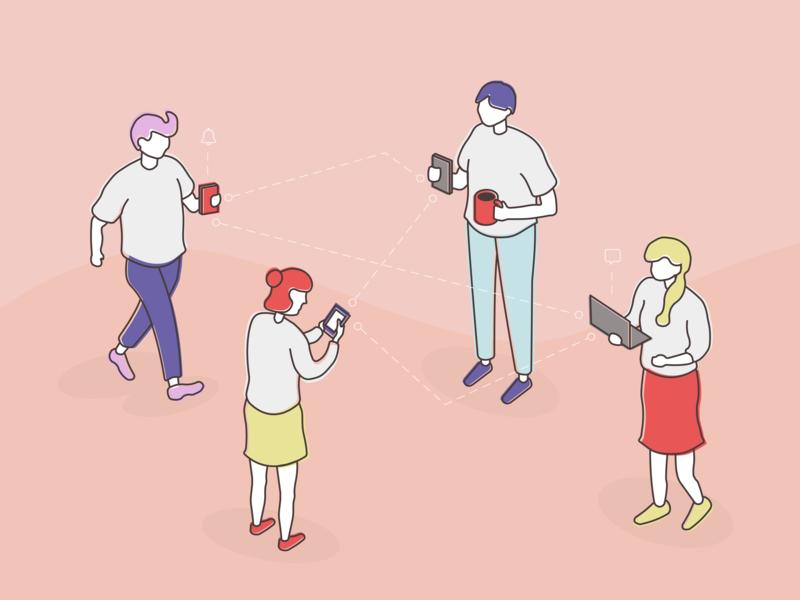 Character Design mobile app charachter network tech vector illustration design