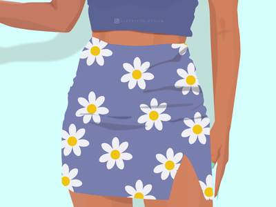 Floral Print Skirt outfit girl illustration blue skirt skirt girl illustration vector