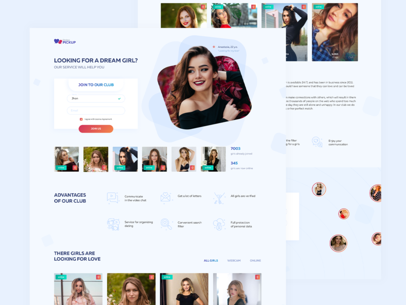 Landing page for dating site girls meeting pickup dating website dating page landing page design landingpage landing page landing web design ux ui