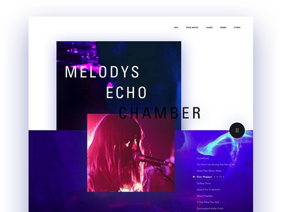 Melodys Echo Chamber water psychedelic webdesign layout artist music ux ui