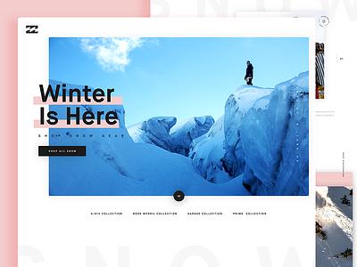 Billabong Snow Landing winter snowboarding snow billabong website marketing web design clothing landing page ux ui