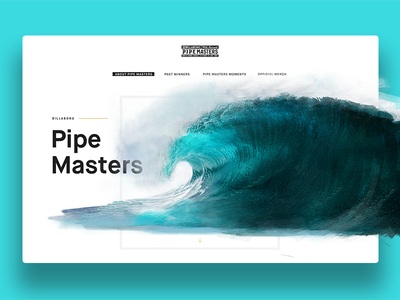 PipeMasters Microsite organic water epic microsite ux ui billabong concept watercolor wave layout surf