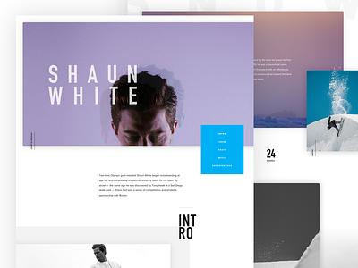 New Shaun White Redesign organic skate athlete ux ui layout snow snowboard