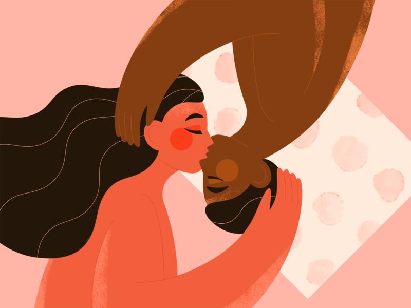 LOVE pink couple love art texture girl flat character illustration valentine valentines day dribbbleweeklywarmup