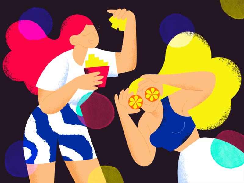 Party shot girl grain texture flat character art design illustration