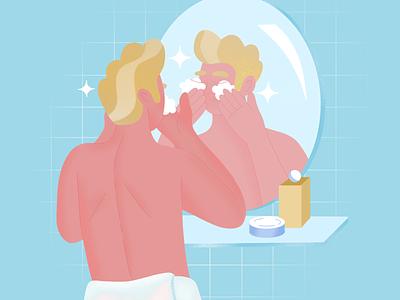 In the bathroom grain bathroom bath mirror blue shot texture flat design character art illustration