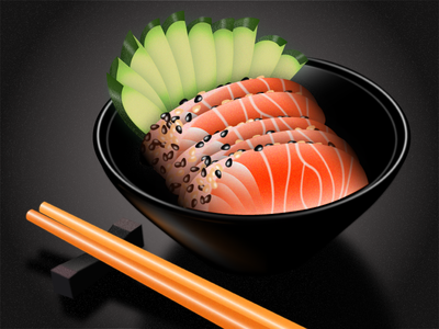 Oriental dinner illustration black red grainy grain texture illustrator illustration dish food art fish dinner