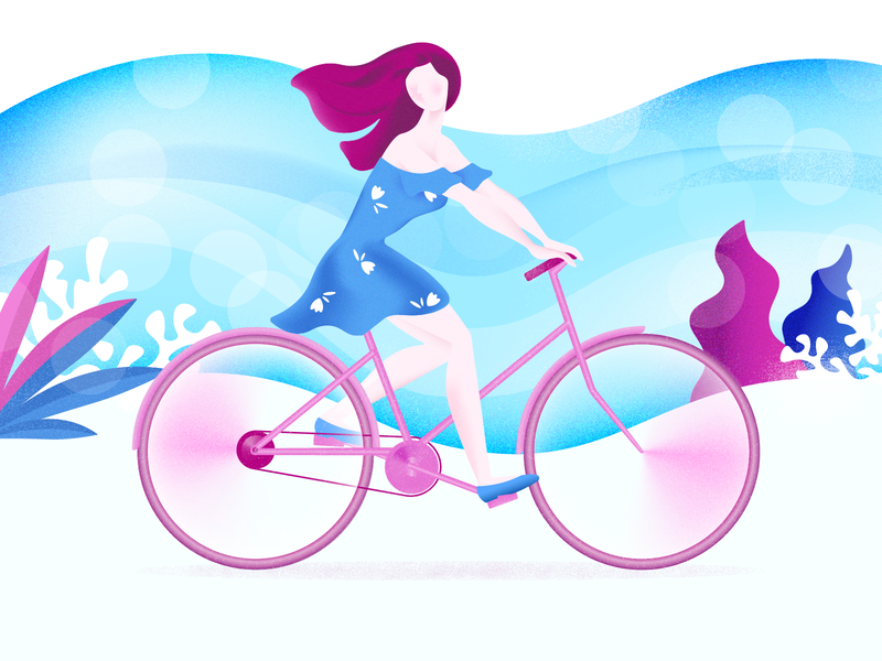 Cycling illustration blue girl cycle bicycle illustation character ride grain texture noise bike cycling