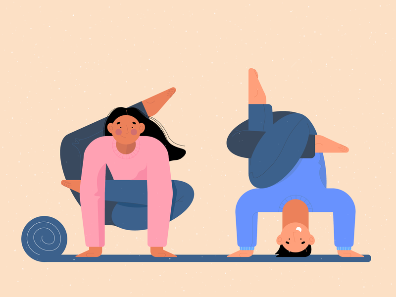 Yoga  illustration hobby stretch stretching sport yoga shot design art character illustration