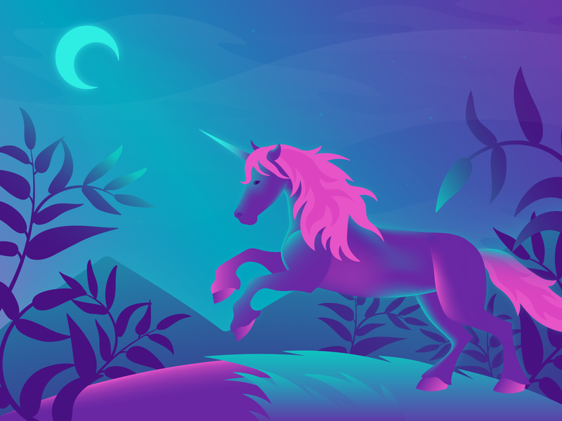 Unicorn illustration night flat art shot vector character illustration design horse unicorn gradient