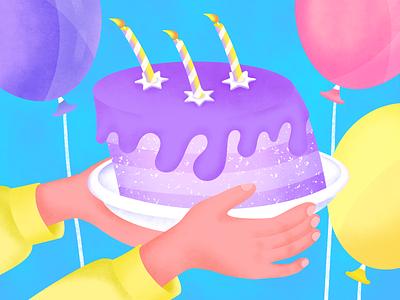 Happy Birthday Illustration party birthday cake birthday card post card birthday vector purple icon invite gradient blue texture flat grain shot design art illustration