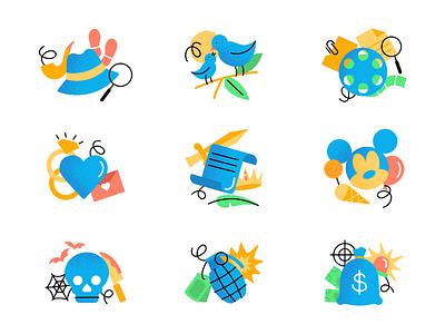 Movie icons. Part 2 genres cartoon film movie movies grain texture flat icons design illustration art