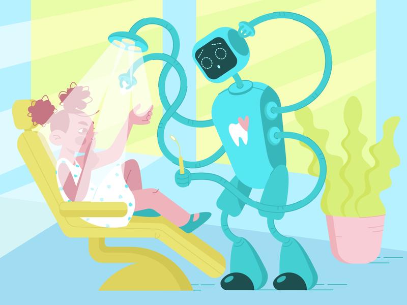 Dentobot dentist robot web girl blue flat shot character art design illustration