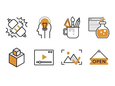 icon set lineart orange icon design icon set icons icon web flat shot design art illustration