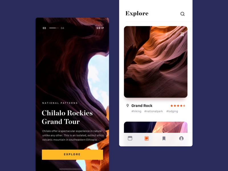 chilalo experience feed cards explore patterns travel hiking rating ui white design simple app minimal clean brandnew
